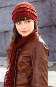 вязаный шарф и шапка крючком