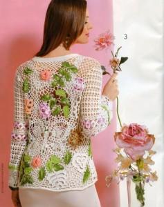 жакет с цветами крючком