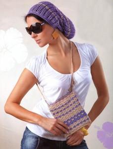 вязаная шапочка и сумочка на лето