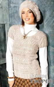 пуловер и шапочка крючком