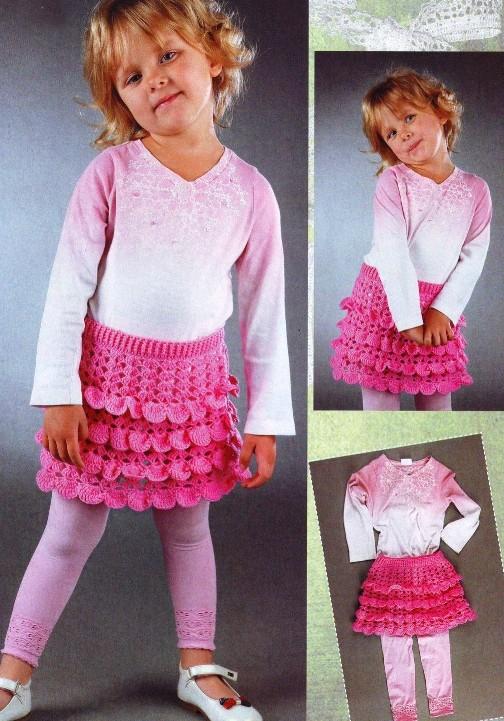 Нежная ажурная юбка крючком для девочки