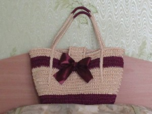 вязаная сумка из лент