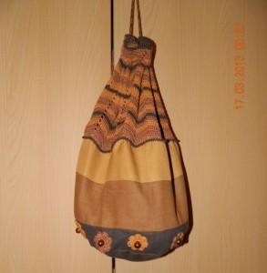 рюкзак комбинируем вязание и ткань