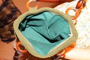 подклад у вязаной сумки