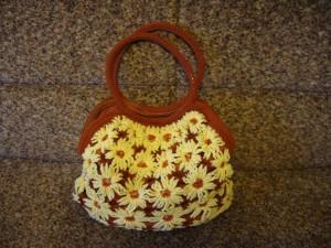 вязаная сумка крючком из ромашек