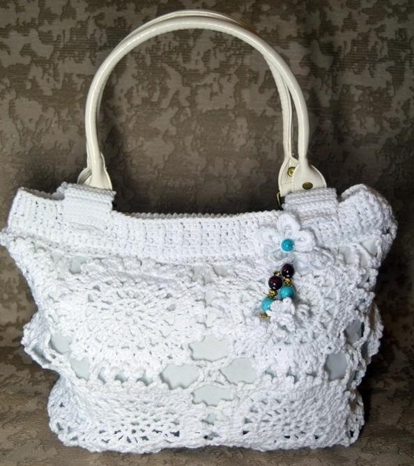 белоснежная сумочка на лето вязание крючком бесплатная схема