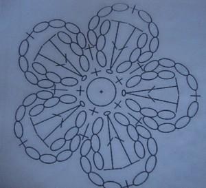 схема для вязания маленького цветка