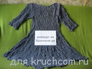 вязаное платье с узором ананасы