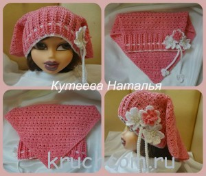 шапка -косынка крючком для девочки