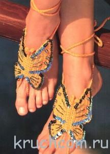 украшение для ног крючком бабочки