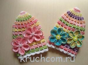 панамка крючком с цветами