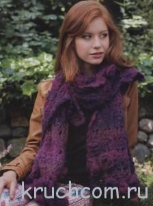 вязаный мохеровый шарф с розами