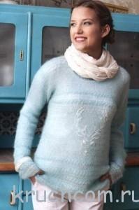 вязаный пуловер из мохера крючком