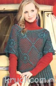 ажурный пуловер из цветочных мотивов