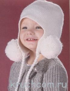вязаная шапочка с ушками крючком