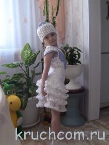 вязаный топ, юбка и панамка для девочки