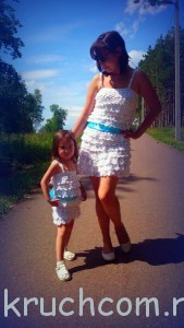 вязаный сарафан на лето для мамы и дочки