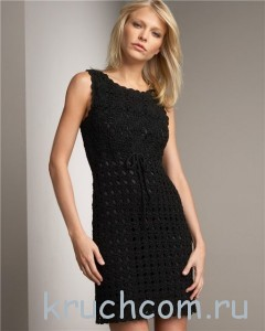вязаное черное платье крючком