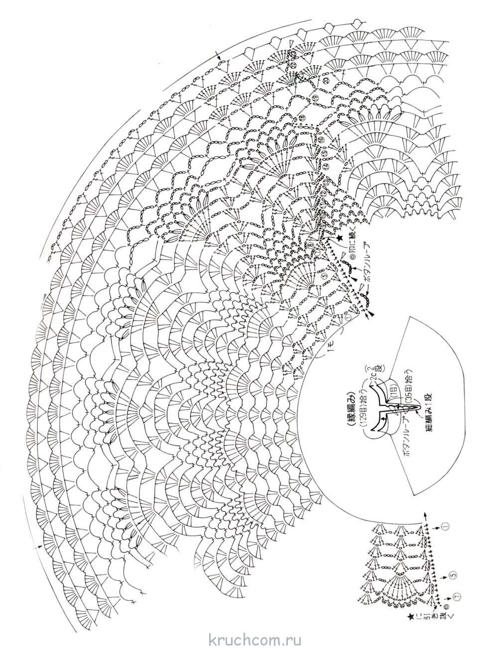 Схема круглой кокетки крючком для женщин фото 6