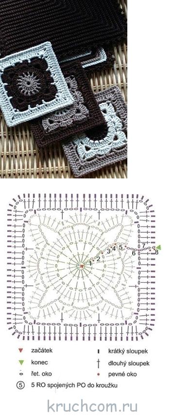 схемы вязания квадратных мотивов крючком бесплатные схемы и