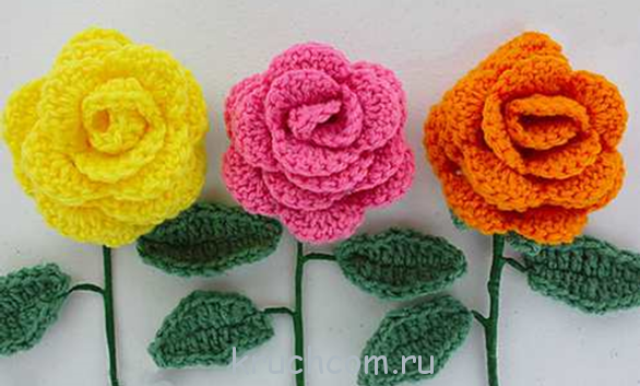 схемы вязания розы крючком бесплатные схемы и описания для